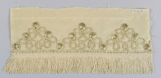 A. Trimming of cord and flat strips worked into ornaments. B. white silk fringe; plain woven heading and skirt of twisted threads.