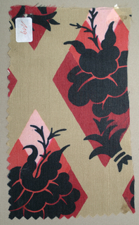 Pattern incomplete. Lattice grid in tan, dark red, light red, and pink, with silhouetted flowers in black.