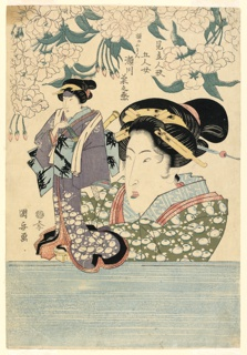 Woodblock Print, Pentaptych: Five girls with theater puppets, 1805–20