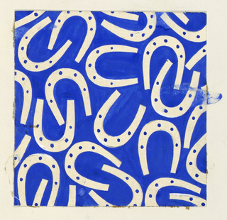 Pattern of white horse shoes on a royal blue background.