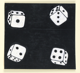 A white die in each corner against a black background.
