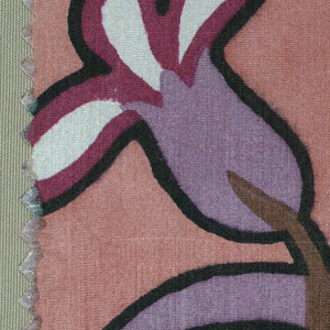 Stylized floral pattern in violet, purple, gray, brown, ochre, and white with black outlining, on a salmon pink ground.