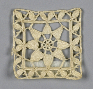 Three separate squares, each containing an eight-pointed flower. Reticella style.