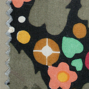 Small scale all-over floral pattern with taupe leaves, violet circles, white dots, green hearts, ochre, pink, and yellow flowers on a black ground.