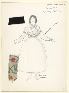 Vertical rectangle. Standing woman in peasant costume, wearing a shawl. Two swatches of material pinned on.
