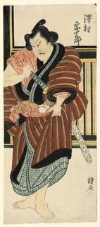 Woodblock Print, Fragment: Sawamura Sojuro drawing his sword, 1820–25