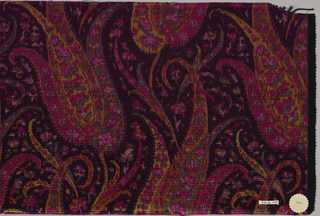 Heavyweight silk with horizontal ribbing has a tightly-spaced allover multicolored design with a paisley-cone motif surrounded with many small floral forms. Colors are primarily dark pink, orange, yellow, and blue-grey on a black ground. Right selvedge present.