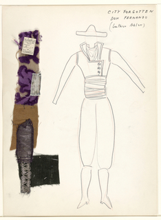 Vertical rectangle. Standing man in Spanish costume, possibly that of a bull-fighter. Four swatches of material pinned on.