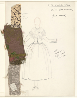 Vertical rectangle. Standing woman seen frontally, wearing a close-fitting jacket and shawl. Three swatches of material pinned on.