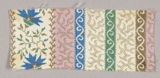 Stripes of dotted shapes alternate with S scrolls and wider stripe of floral shape and leaves.