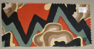 Abstract landscape; (a) black, gray, brown, tan, taupe, and yellow on orange-red background; (b) teal, dark olive, light olive, light green, and ochre; (c) black, dark gray, medium gray, light gray, purple, and light purple on a blue background.