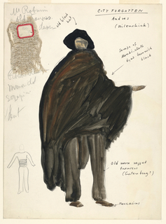 Vertical rectangle. Rough sketch of a man wearing a broad-brimmed hat and a large cloak. One swatch of material pinned on. Pencil sketch of the figure, lower left.