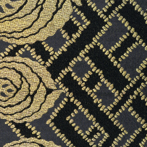 "Eight samples of wide ribbon. Background of plain weave with a design of interlacing lines outlined in gold thread. Highly stylized gold rose blossoms and scrolling lines form a border on each side. Both selvages present on all samples. Component ""a"" has interlacing lines of bright and dark red with gold thread accents."