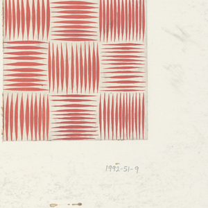 Design consisting of 12 squares with alternating horizontal and vertical lines painted in tomato-red to form basket weave pattern.