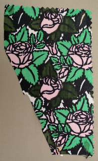 Stylized roses in bright pink and green with heavy black outlines and black on an ivory ground.