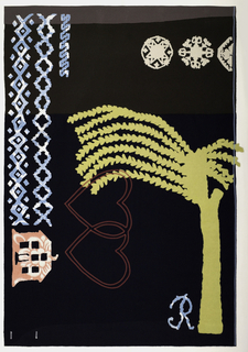 Very dark blue background with bands of dark brown and taupe at the top. On the left side, bands of geometric borders in light blue and a pink patterned house, sideways. In the lower left, two interlocking hearts machine embroidered in red. In the lower right, a large yellow palm tree, and a light blue patterned R. In the upper right corner, three snowflakes in off-white.