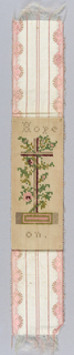 "Bookmark of pink and white brocaded ribbon is mounted with an embroidered card worked in wool thread. Design of a cross with flower wreaths and the legend: ""Hope On."" Tan, green and pale pink."