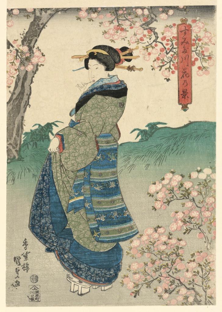Print, Woman viewing Cherry Blossoms on the Bank of the Sumida River (Sumidagawa hana no kei), ca. 1840