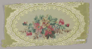 Polychrome bouquet of flowers in oval medallion on a yellow and white woven fabric. Fragment probably part of a dress flounce.