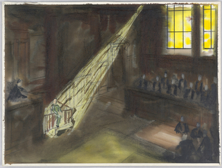 """Drawing, Sketch for Courtroom Scene for """"Adding Machine"""""""