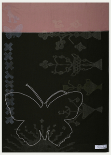 """Dark green background with a pink band at the top.  On the left side, vase and flower forms in light green, oriented sideways.  On the right, """"xx"""" shapes reminiscent of cross-stitch embroidery, a butterfly and a bird in patterned bright blue.  The bottom third features a light blue patterned sunburst.  A large embroidered butterfly in the bottom third of the textile."""