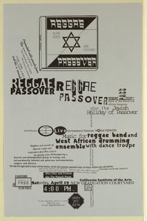 "Vertical format poster announcement with black print on silver gray ground. At top, image of CD album artwork for ""Reggae Passover"" by Alan Eder and Friends. Below, text describing the live performance of the musical event in a range of fonts and sizes, some text printed vertically and some printed horizontally."