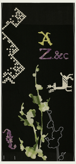 Dark brown background with lighter shade at the top and bottom.  There are white cross-stitch patterns in the upper left and lettering in the upper right, a yellow A and bright pink Z and C. In the middle right is a white deer.  Cherry blossoms feature prominently in patterned light green, shadowed by white embroidery.