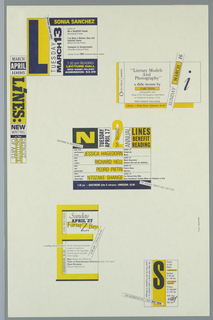 "Poster/ announcement printed in yellow and blue inks for reading, lecture, and discussion series at The Detroit Institute of Arts, designed to be mailed.  Text in a variety of sizes, styles throughout.     Recto: Upper left edge, blue and yellow text enclosed in rectangular box giving title, date.  Scattered across sheet, enclosed in five boxes, blue and yellow text giving information for each event.  Each box contains one letter of ""Lines.""   Verso: Center, square image, printed in blue, composed of key words from the various LINES events.  Across lower third of sheet, blue text giving mailing information."
