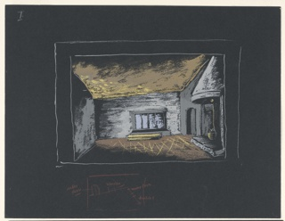 """Stage design for Sir John Gielgud's production of """"Queen of Scots,"""" a play by Gordon Daviot (also known as Elizabeth Mackintosh) performed at the New Theater in London. At stage left, a fireplace with a round-hooded mantle and a pot-like object hanging insid; upstage from fireplace, an arched doorway; upstage center, a rectangular window in front of which is a table or bench. Below the design: a sketch of another floorplan in red crayon with annotations."""