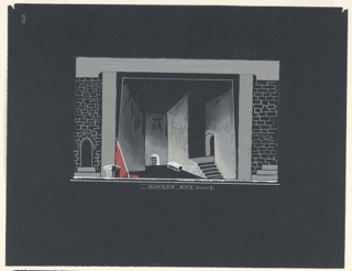"Horizontal rectangle. A prison-like chamber, with a barred window near the floor, upstage, center, and a flight of steps leading to an arched doorway, right. Banner, left. Flats at either side. Below: ""DUNBAR Act 3. Scene 3."""