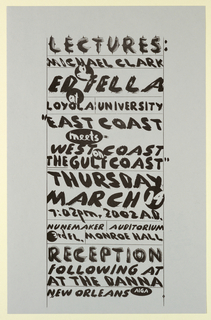 Poster Announcement, Michael Clark and Ed Fella at Loyola University, March 14, 2002