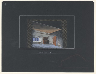 """Drawing, Stage Design: Act III, Scene 3, for """"Queen of Scots"""""""