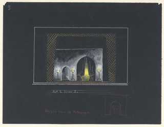 """Stage design for Sir John Gielgud's production of """"Queen of Scots,"""" a play by Gordon Daviot (also known as Elizabeth Mackintosh) performed at the New Theater in London. Interior chamber with two archways, flanked by three standing candelabra. The larger archway at stage left is draped with a black curtain, yellow light shining through from behind. The smaller archway at stage right reveals a stairway leading up. Below, in red, a perspectival sketch of an arch."""