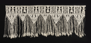 Border with highly stylized male and female figures, with pendant triangles below, finished with a long fringe.