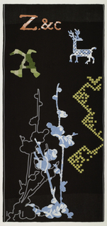 "Dark brown ground with lighter shades at the top and bottom.  At the top a bright pink ""Z"" and ""C"" with a green ""A.""  In the lower left are light blue patterned cherry blossoms.  There are also cherry blossoms in embroidered white.  At the right are cross-stitch patterns in yellow and in the upper right corner, a light blue reindeer."