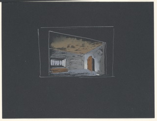 """Drawing, Stage Design: Study for Act III, Scene 3, for """"Queen of Scots"""""""