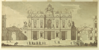 "Shown is the elevation of a two-story villa, laterally connected by gateways with five-story houses of the same height; their corners are shown; the gateways are decorated with draperies, burning candles and garlands. The ground floor of the villa projects laterally; allegorical figural representations of ""Religion"", or ""Church"" and ""Faith"" are shown; the attic shows the coat of arms of the Pope, the attributes of his office, and urns containing fires; the coach with the Pope approaches from right; at left is a troupe of soldiers; framing lines below. Figures, carriages, and horses in foreground."