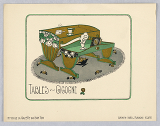 Horizontal rectangle. Design for a nesting tables in green and gold with curved sides and painted floral decoration placed on gray oval rug with floral motif. Two cups of coffee on tables, one with cloud of steam, one cigarette with curling smoke, and one book. Ruled borders with curved edges in green and black.