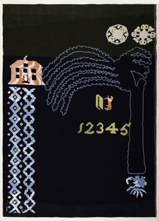 Navy background with a green band on the top.  In the upper right are two snowflakes.  At the left is a pink house, light blue geometric bands and green numbers.  There is an embroidered, light-blue palm tree. On the back, a pink laurel wreath.