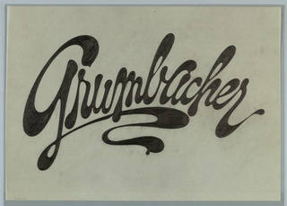 Sketch for the logo design for Grumbacher, an art materials firm, consisting of the name Grumbacher written in black cursive letters across the center. An exaggerated tail or swash extends from the letter G and creates a curvy line underneath the word.