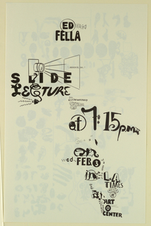 Poster Announcement, Ed Fella, Slide Lecture - Los Angeles Times Art Center, February 3, 1999
