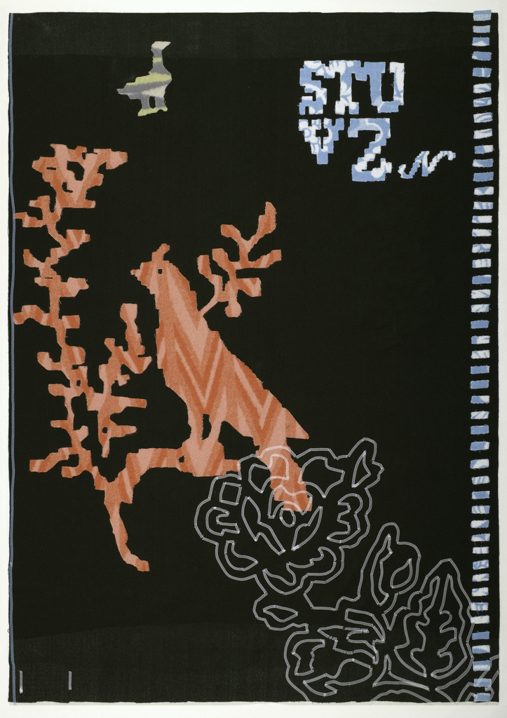 """Dark green ground with lighter areas at the top and bottom from a cream color that has been punched through from the back.  There is a bright pink bird on a branch with a column of light blue bands on the right.  There is lettering in light blue at the upper right spelling """"STU"""" above """"VZN.""""  There are white embroidered flowers around the bottom and a gray and yellow flower on the back."""