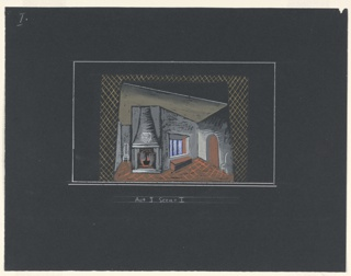 """Drawing, Stage Design: Act I, Scene 1, for """"Queen of Scots"""""""