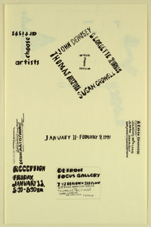 "Poster/ announcement printed in black, for exhibition at Detroit Focus Gallery, designed to be mailed.  [Printed] hand-lettered text in a variety of sizes, styles throughout.  Recto: Upper left quadrant, text giving exhibition title in shape of ""I.""  Upper right quadrant, text giving artists' names arranged in diamond shape, enclosing title text shaped in an ""I.""  Across lower half of sheet, text giving dates, location, reception, contact, and additional information.     Verso:  Center, designer's credit, with abstract shape.  Across lower right quadrant, rectangular box with markings, divided by diagonal lines into three unequal parts.  Lower left quadrant, sponsors and return address.  Lower right corner, mailing information."
