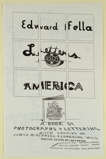 "Poster Announcement, Poster Announcement for Edward Fella's book ""Letters on America"""
