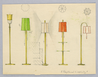 Standing lamps from left to right: brass reflector lamp; green shaded lamp; beige shaded lamp; coral shaded lamp with two glass squares serving as tables ; goose-necked lamp, white shade trimmed with red piping.