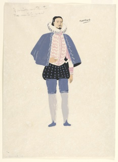 Standing figure facing frontally wearing a white vest embroidered in pink, a short blue embroidered cloak, black pantaloons with blue spots and blue and gray tights.