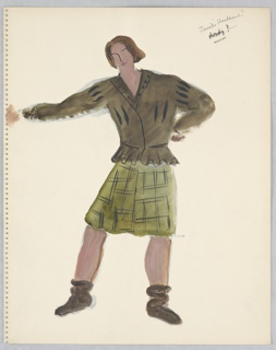 """Drawing, Costume Design: Male Character, for """"Queen of Scots"""""""