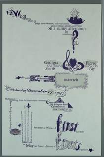 Marriage announcement in purple ink with witty phrases and varied typography. Verso: allover objects.