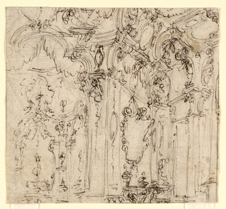 Drawing, Stage Design: Hall in a Palace, 1725–50